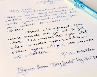 handwritten letter with your words to whomever you like. type me your text and I will write it by hand and mail it. custom colors available.