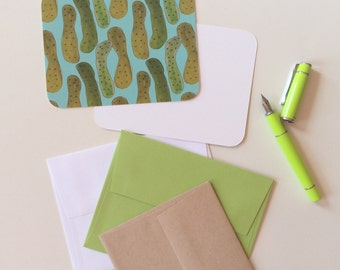 pickle design flat notecard set with matching envelopes. pickles in a repeat pattern, to delight your dill-loving friends.