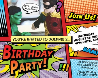 Birthday Party Invitation Comic Book Style DIGITAL FILE