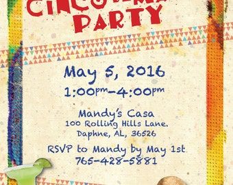 Cinco De Mayo Party Invitation DIGITAL FILE