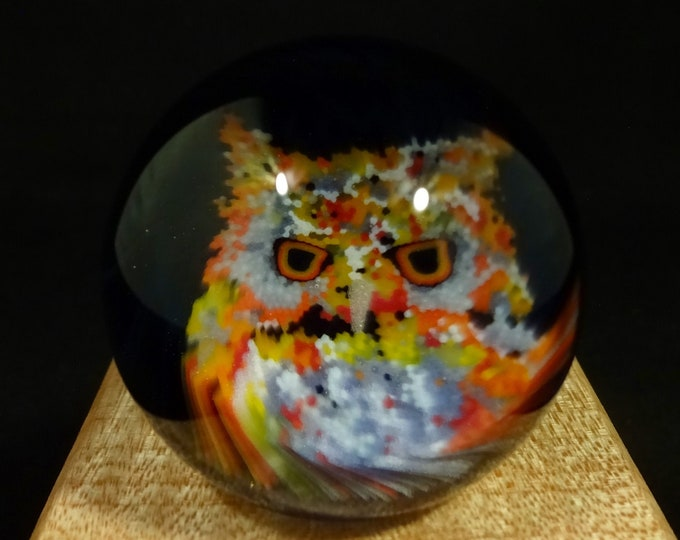 Featured listing image: Handcrafted Glass Marble featuring a Owl