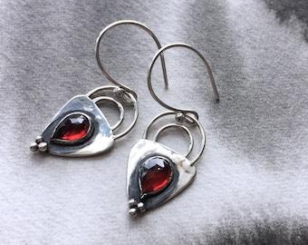 Glowing embers rosecut garnet earrings, sterling silver granulation detail, wine red stone, January birthday, teardrop stone, gothic love