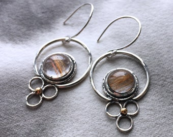 Fireflies golden rutilated quartz sterling hoop earrings with 22k gold accents, clear golden stones, summer artisan jewelry, one of a kind