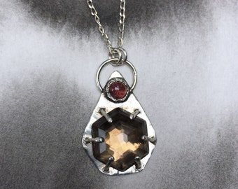 Estival Earth summer collection faceted smoky quartz and pink tourmaline pendant, sterling silver, prong setting, art jewelry, gardener gift