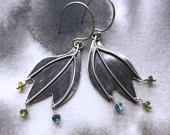Blue Cohosh tourmaline dancing leaf earrings, aqua green stones, statement jewelry, dark silver, hiking, artisan jewellery, one of a kind