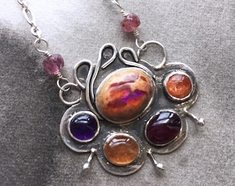 Elemental fire opal mosaic pendant, amethyst, tourmaline, sunstone, recycled sterling silver, multicolour ombre stones, art jewelry