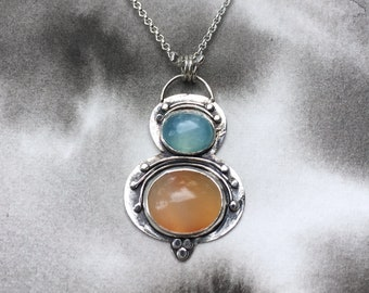 Estival Sky summer collection aqua chalcedony and sunset stripe carnelian pendant, sterling silver, delicate details, beach art jewelry,
