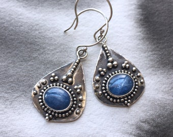 June Sky shimmering blue kyanite earrings, ultramarine stone, statement jewelry, granulation, for her, artisan jewellery, one of a kind