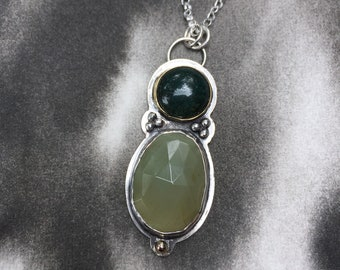 Estival Forest summer collection rose cut pale green sapphire and moss agate pendant, sterling silver, 14k gold, art jewelry, hiker gift