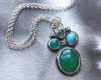Gathering Leaves chrysoprase, turquoise, tourmaline, green quartz pendant, sterling silver, granulation details, botanical art jewelry gift