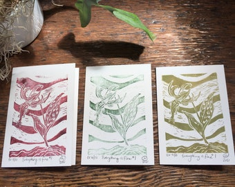 Everything Is Fine 1 limited edition block printed blank greeting card set 3/3, water based ink, trout lily plant study, humour, friend gift