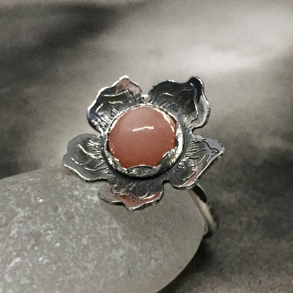 statement ring cherry blossom jewelry sterling silver artisan jewelry Peach pink moonstone ring cats eye stone ring flower shaped ring