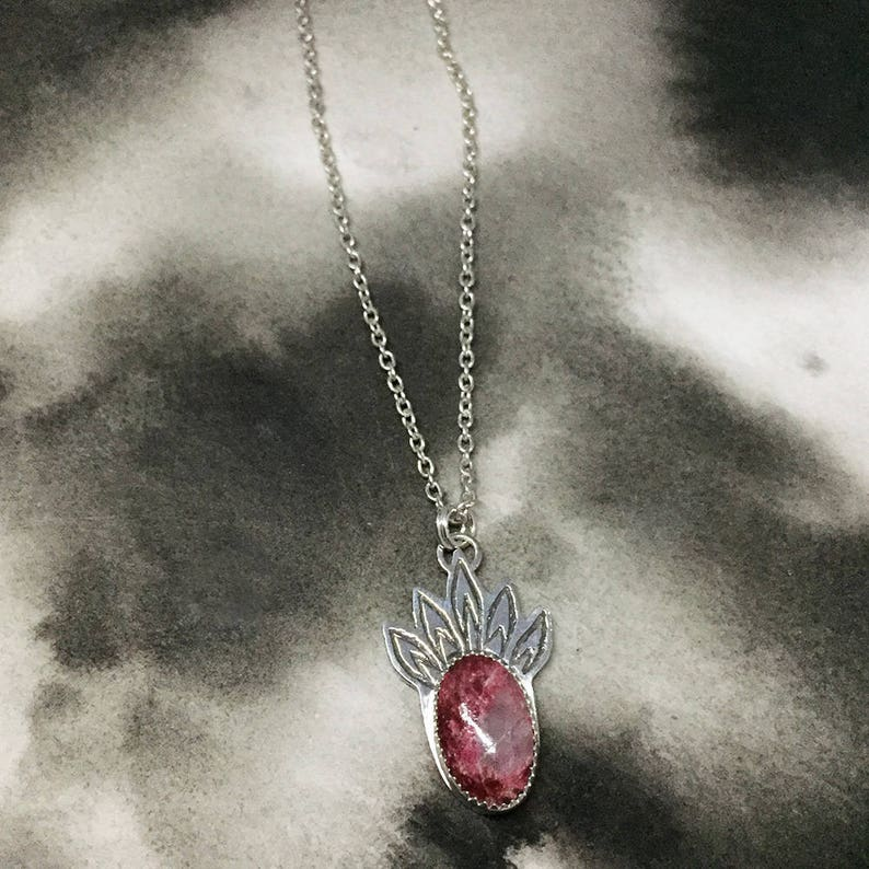 etched sterling silver Thulite lotus blossom pendant cranberry red stone layering necklace art jewelry for women petal shaped design