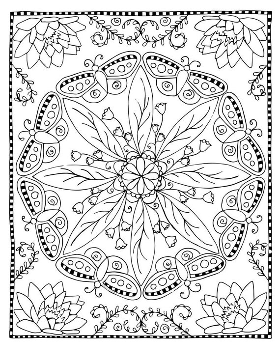 Coloring Page Butterfly Mandala Etsy