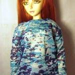 Blue print sweatshirt for SD, luts delf, 1/3 bjd DOLL