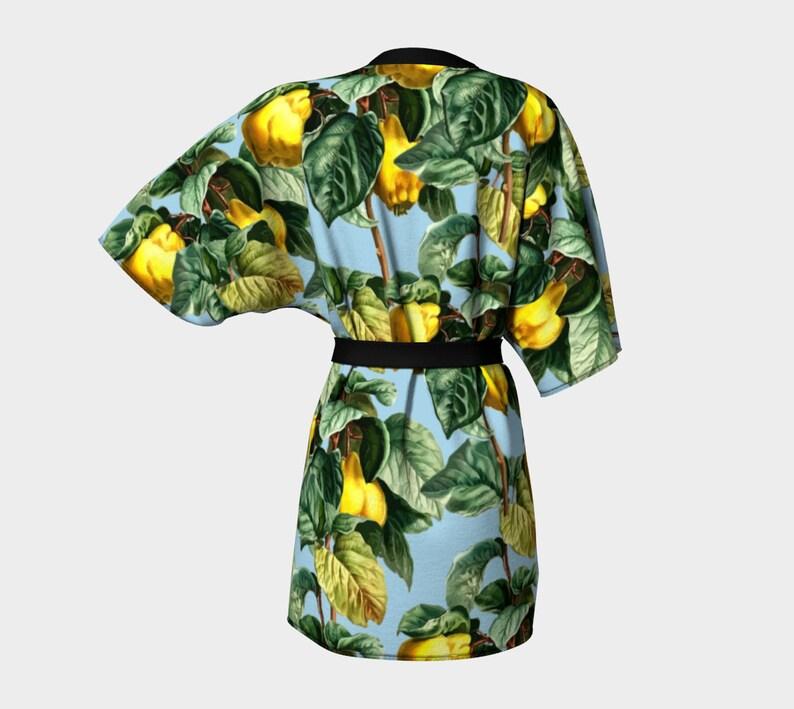 fruit branches blue kimono robe