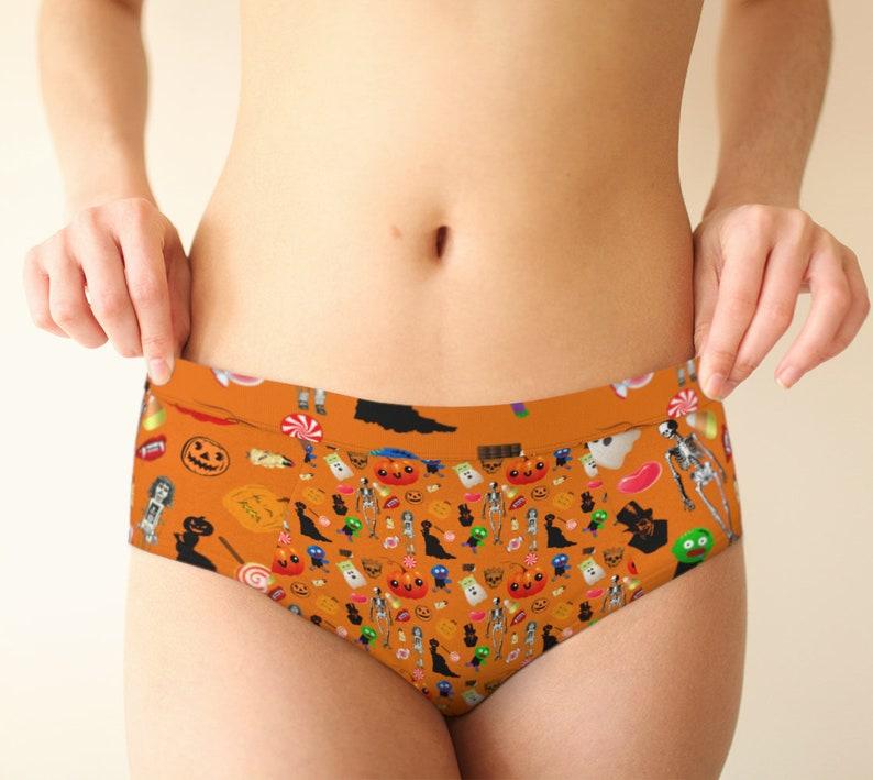 halloween treats pattern orange cheeky briefs image 0