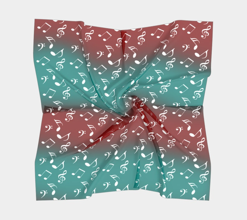 red teal music square scarf image 0