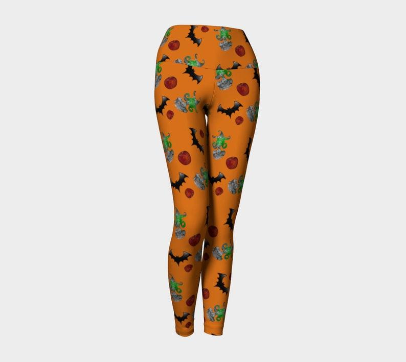halloween witch pattern orange Yoga Leggings image 0