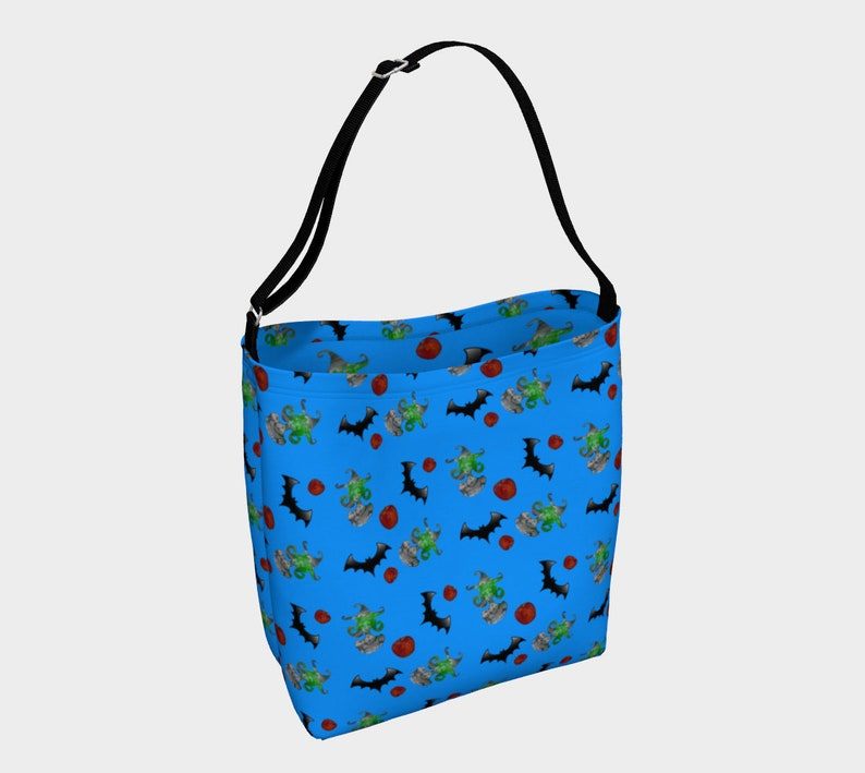 halloween witch pattern blue Day Tote image 0