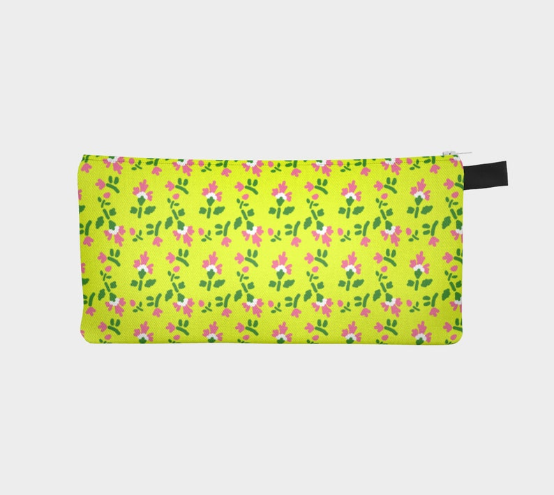 carnation pattern yellow pencil case image 0