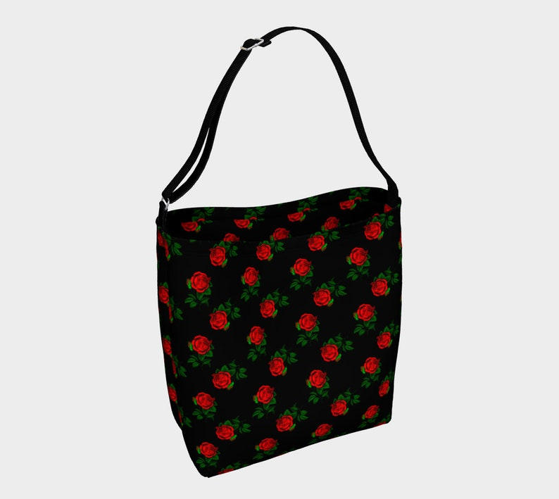 red roses black day tote image 0