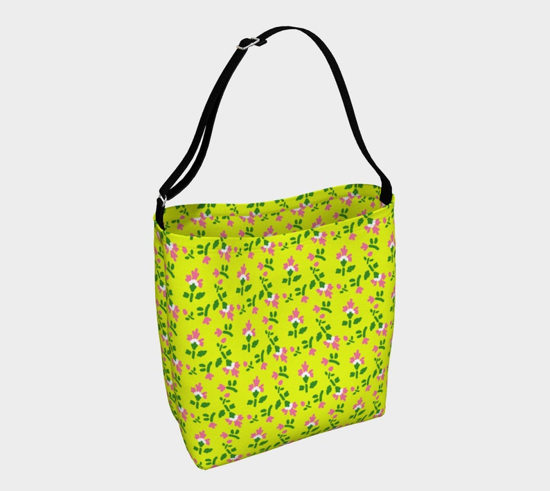 carnation pattern yellow Day Tote image 0