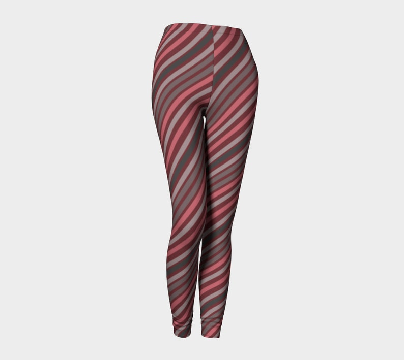 brownish diagonal lines Leggings image 0