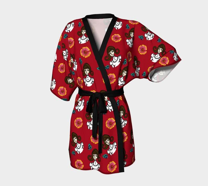 girl with dress red kimono robe image 0