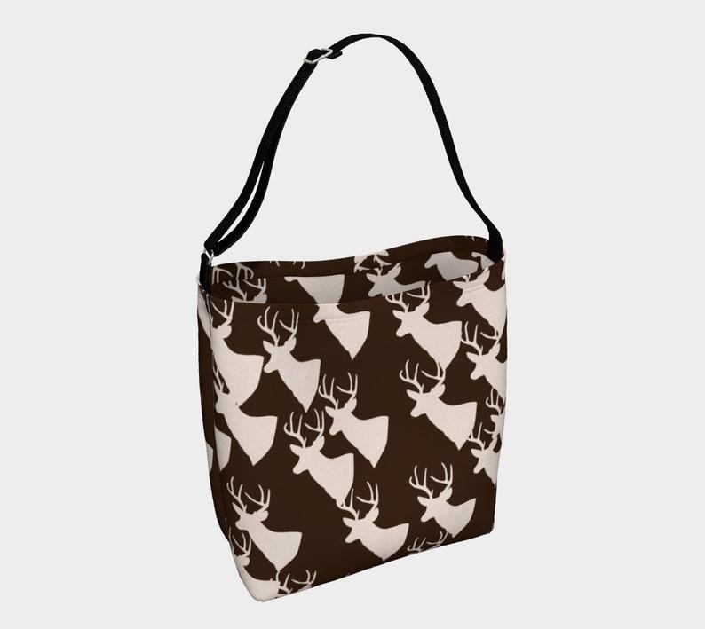 brown deer pattern day tote image 0