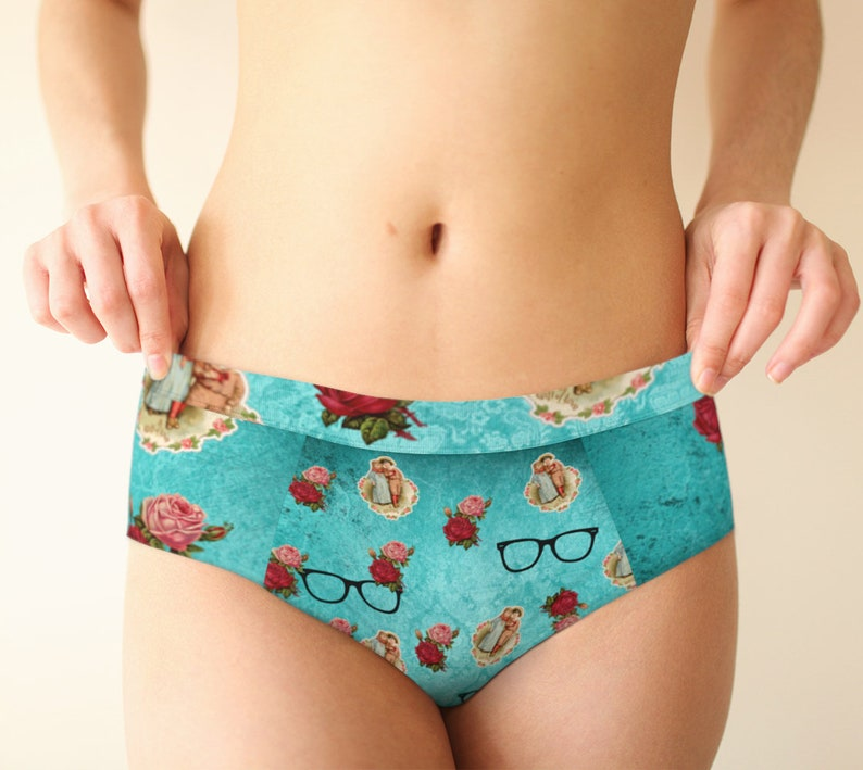 vintage glasses blue cheeky briefs image 0
