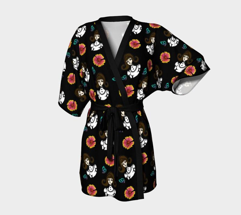 girl with dress black kimono robe image 0