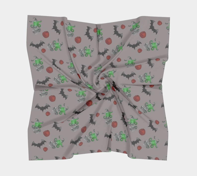 halloween witch pattern grey square scarf image 0
