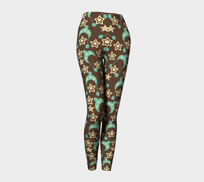 Brown with blue hats Leggings image 0