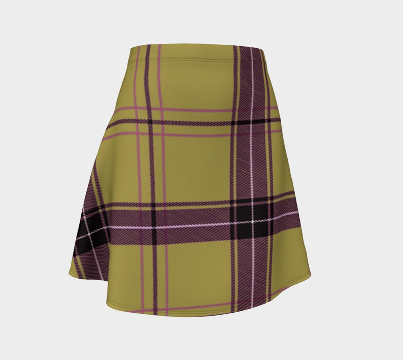 beige purple plaid Flare Skirt image 0