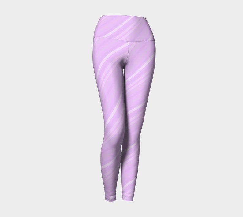 lilac diagonal lines Yoga Leggings image 0