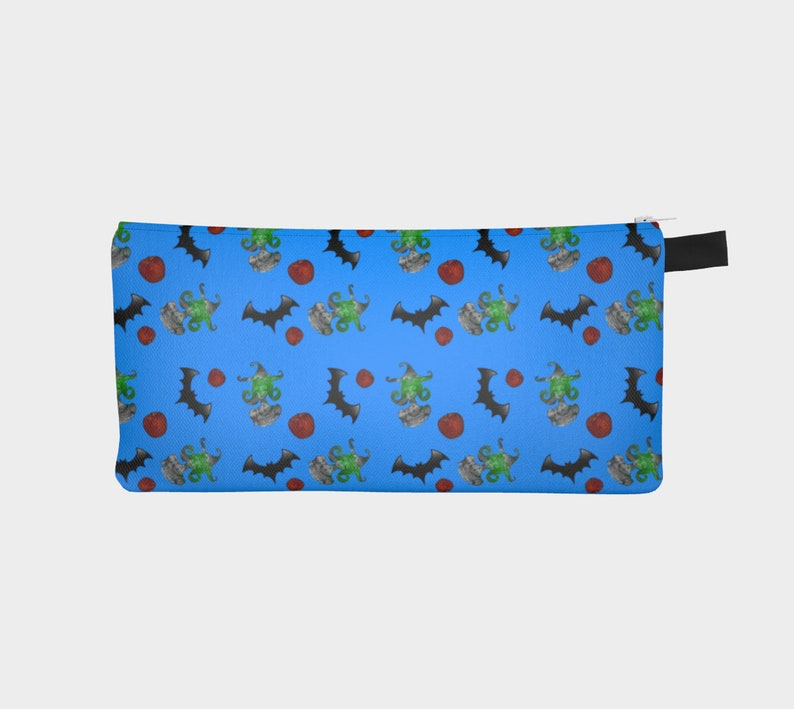 halloween witch pattern blue Pencil Case image 0