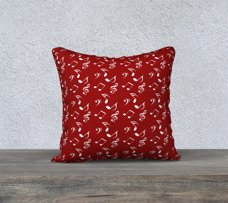 red white music 18 x 18 Pillow Case image 0