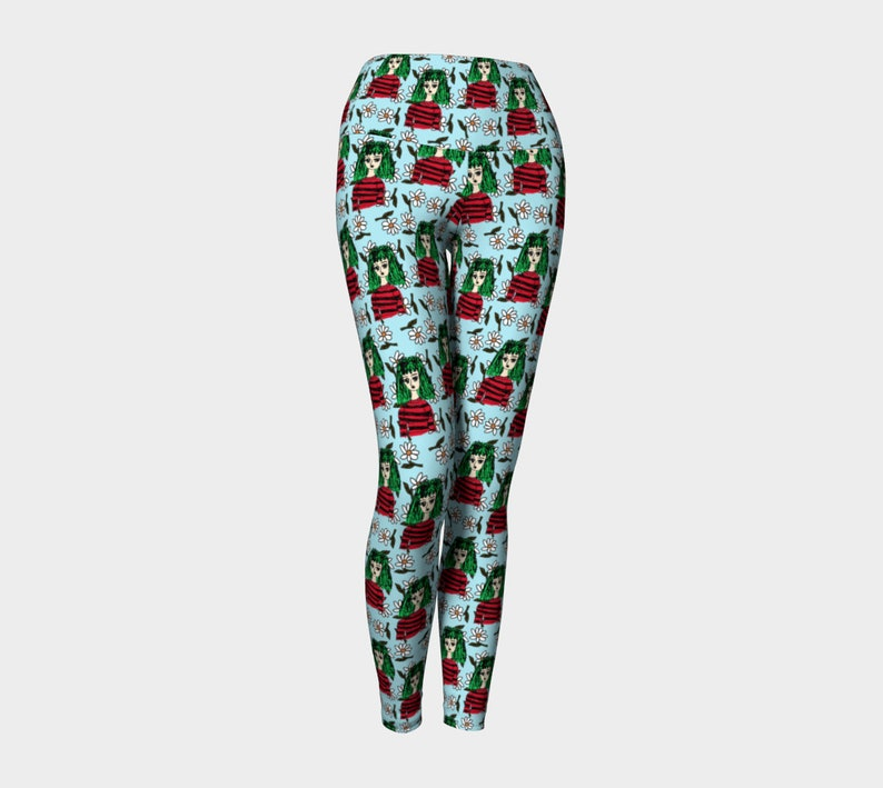 girl with green hair pattern blue floral Yoga Leggings image 0