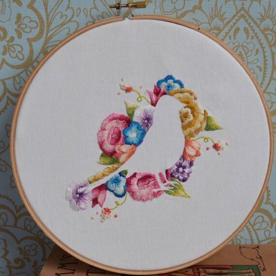 Flores y aves de hierro en el patron para bordar a mano | Etsy