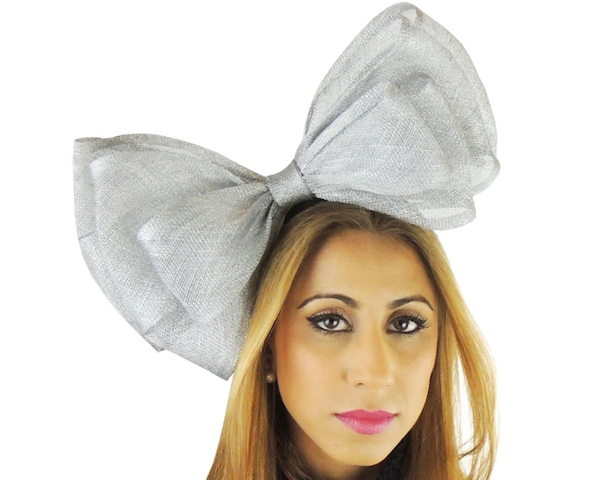 Metallic Silver 12 Inch Cliverina Fascinator Kentucky Derby or Wedding Hat on a Headband in 40 Colours