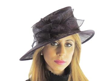 Black Flower Sinmay Hat for Kentucky Derby, Weddings, Ascot, Garden Parties