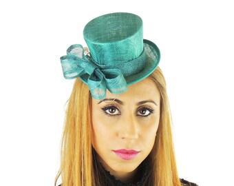 Jade Green Mini Top Hat Fascinator Ascot Kentucky Derby Proms **SAMPLE SALE**