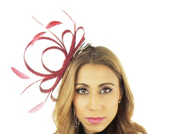 Burgundy Fascinator Ascot Kentucky Derby Proms **SAMPLE SALE**