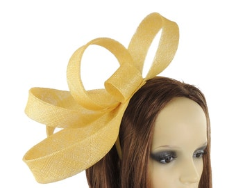 Yellow Kate Fascinator  Hat for Weddings, Occasions and Parties With Headband