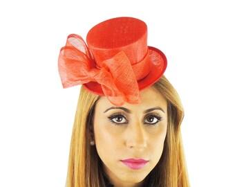 Red Mini Top Hat Fascinator Ascot Kentucky Derby Proms **SAMPLE SALE**