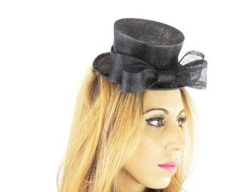 Black Mini Top Hat Fascinator Ascot Kentucky Derby Proms **SAMPLE SALE**