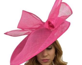Fucsia rosa barbagianni Fascinator Hatinator cappello per il Kentucky Derby 0bd3948290d9