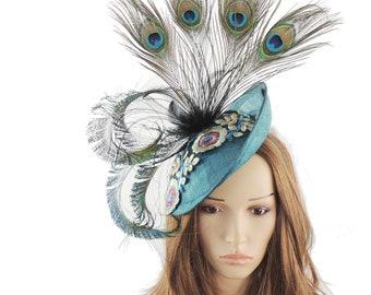 112a1b0d Jade Peacock Green King Fisher Fascinator Hat for Kentucky Derby, Weddings  on a Headband