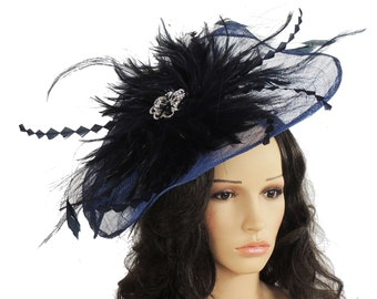 62622bd15f5bb Items similar to Fascinator Hat Navy Blue Loop Hatinator on hairband ...